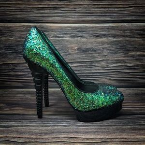 Rachel Roy Green Glitter Sparkle Platform Heels